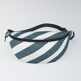 Stripes and Bubbles (White on blue) Fanny Pack
