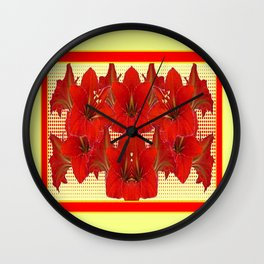 YELLOW CONTEMPORARY CLUSTER RED AMARYLLIS FLOWERS Wall Clock