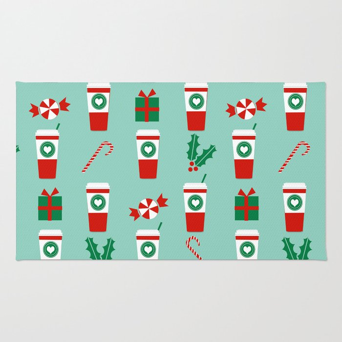 Peppermint Latte mint gender neutral coffee lovers gift for christmas food traditions to remember Rug