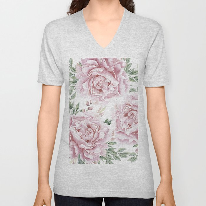 Pretty Pink Roses Flower Garden Unisex V-Neck