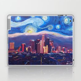 Starry Night in Los Angeles - Van Gogh Inspirations with Skyline and Mountains Laptop & iPad Skin