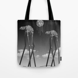 Dali's Mechanical Elephants - Black Sky Tote Bag