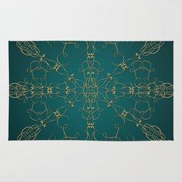Gold Teal Mandala Rug