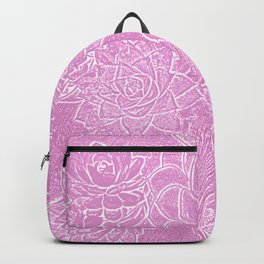 Succulents in pink. Backpack