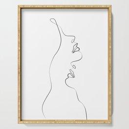 Lovers - Minimal Line Drawing Art Print4 Serving Tray