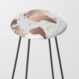 Rose Gold Metallic World Map on Marble Counter Stool