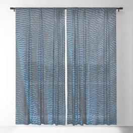 Dragonfly shiny vibrant blue wings Sheer Curtain