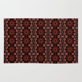 Deep Red Abstract Pattern Rug