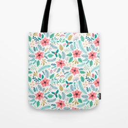 Seamless Floral pattern with winter plants Tote Bag