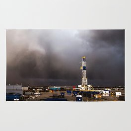 Oil Rig - Storm Passes Behind Derrick in Central Oklahoma Rug
