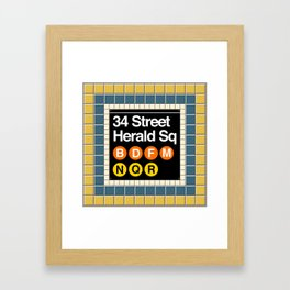 subway herald square sign Framed Art Print