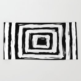 Minimal Black and White Square Rectangle Pattern Beach Towel