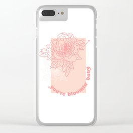 You're Bloomin' Baby - Pink Floral Type Clear iPhone Case