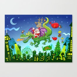 Santa changed his reindeer for a dragon Canvas Print