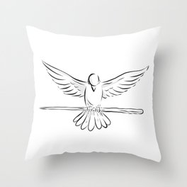 Soaring Dove Clutching Staff Front Drawing Throw Pillow