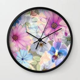 Pink and blue floral pattern Wall Clock