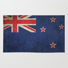 Old and Worn Distressed Vintage Flag of New Zealand Rug