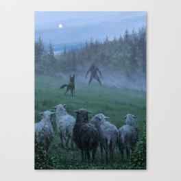 Shepherd and his faithful dog Canvas Print
