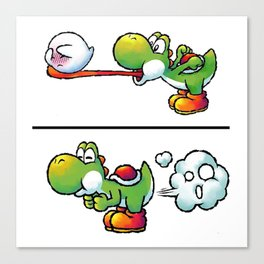 Farting Yoshi Green Canvas Print