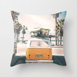 Surf Van Venice Beach California Throw Pillow