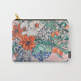 California Summer Bouquet - Oranges and Lily Blossoms in Blue and White Urn Carry-All Pouch