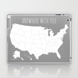Anywhere With You USA Map in Grey Laptop & iPad Skin