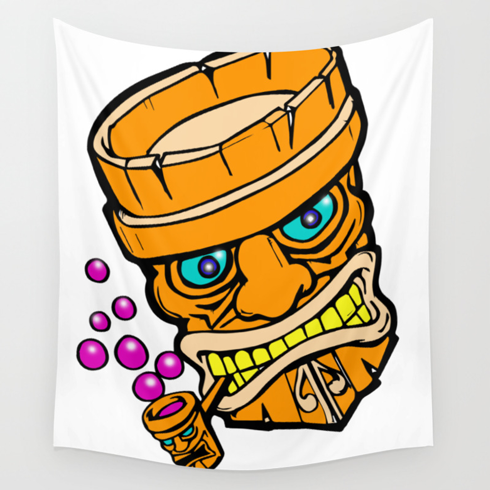 Mr Tiki The Bubble Blow'n Machine Wall Tapestry by Wichitacathedral TPS8501148
