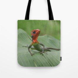 Gecko iguana Red Head Tote Bag
