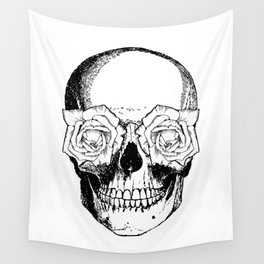 Skull and Roses | Skull and Flowers | Vintage Skull | Black and White | Wall Tapestry