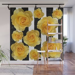 Yellow Roses on Black & White Stripes Wall Mural