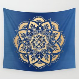Blue and Gold Flower Mandala Wall Tapestry
