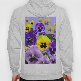 SPRING PURPLE & YELLOW PANSY FLOWERS Hoody