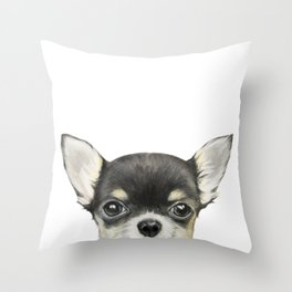 Chihuahua mix color Dog illustration original painting print Throw Pillow