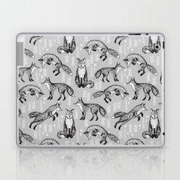 Fox pattern drawing foxes cute andrea lauren grey forest animals woodland nursery Laptop & iPad Skin