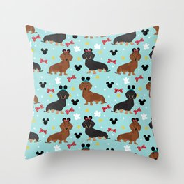 Dachshund theme park dog - black and tan and red doxies Throw Pillow