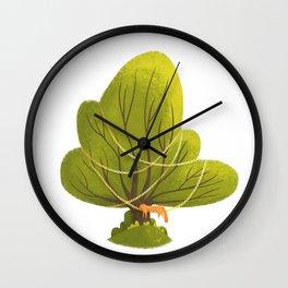 Tree with sleeping cat Wall Clock