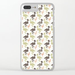Green Brown and Pink Nature Flamingo Silhouette Clear iPhone Case
