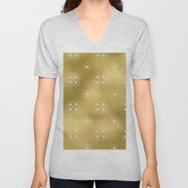 Merry christmas- white winter stars on gold pattern I Unisex V-Neck