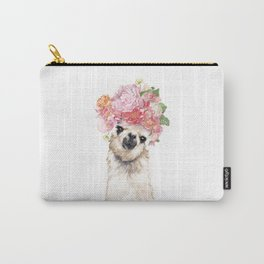 Llama with Beautiful Flowers Crown Carry-All Pouch