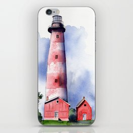 Assateague Light Watercolor and ink Painting iPhone Skin