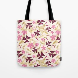 Purple Shamrock Floral Layered Pattern / Cream Tote Bag