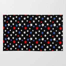 Bold Patriotic Stars In Red White and Blue on Black Rug
