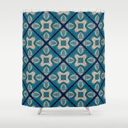 Teal Tile Mosaic Flower Abstract Shower Curtain