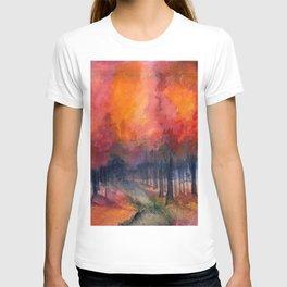 Nighttime Autumn Landscape Nature Art T-shirt