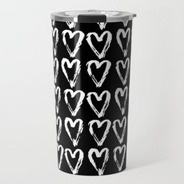 Black & White-Love Heart Pattern- Mix & Match with Simplicty of life Travel Mug