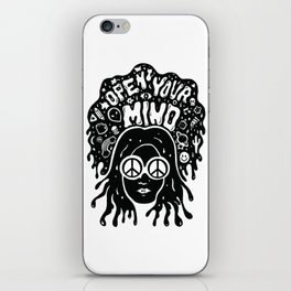 Open Your Mind in black iPhone Skin