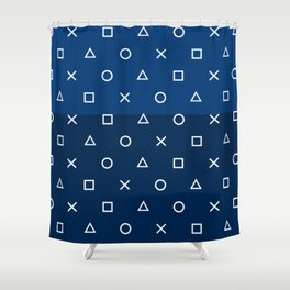 Playstation Controller Pattern - Navy Blue Shower Curtain