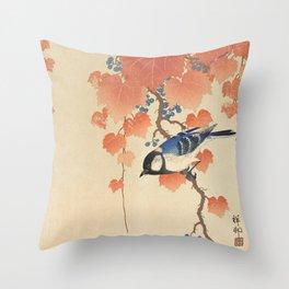 Ohara Koson - Japanese Bird Blockprint Throw Pillow