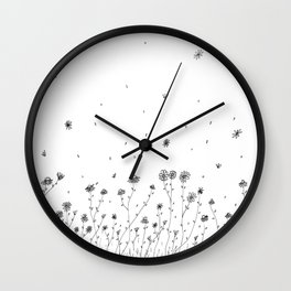 Daisy Flowers Black and White Wall Clock