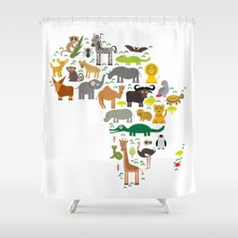 map of Africa: parrot Hyena Rhinoceros Zebra Hippopotamus Crocodile Turtle Elephant Mamba snake Shower Curtain